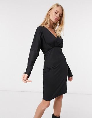 Y.A.S midi plisse dress with kimono sleeves in black