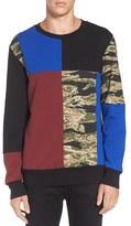 Men's Diesel 'S-Skull' Patchwork Sweatshirt