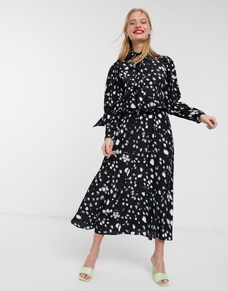 Asos printed high neck open back midi dress-Black