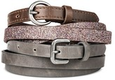 Mossimo Women's Glitter and Solid Belt Set