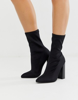 Public Desire Libby high heeled sock ankle boots in black
