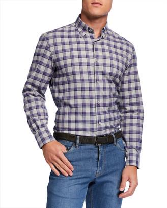 Neiman Marcus Men's Glen Plaid Cotton Sport Shirt