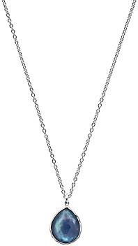 Ippolita Sterling Silver Rock Candy Clear Quartz over Mother of Pearl and Lapis Triplet Teardrop Pendant Necklace, 18