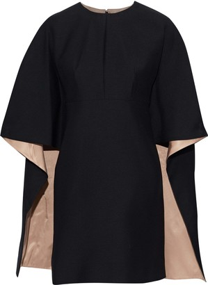 Valentino Cape-effect Wool And Silk-blend Cady Mini Dress