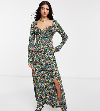 Asos Tall ASOS DESIGN Tall wrap front long sleeve split front maxi in bright ditsy floral print
