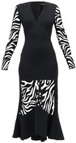 David Koma Zebra-embroidered V-neck Flared Dress - Womens - Black
