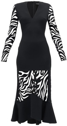 David Koma Zebra-embroidered V-neck Flared Dress - Black