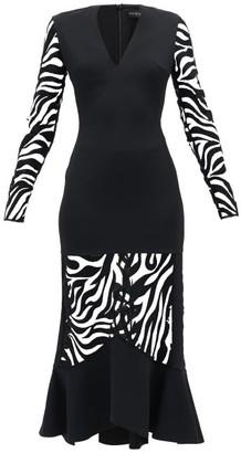 David Koma Zebra-embroidered V-neck Flared Dress - Womens - Black