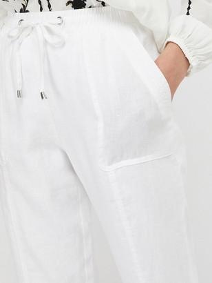 Monsoon Aquaria 100% Linen Jogger - White