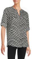 Calvin Klein Striped Roll-Tab Blouse