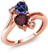 Gem Stone King 1.33 Ct Heart Shape Red Rhodolite Garnet Blue Iolite 14K Rose Gold Ring