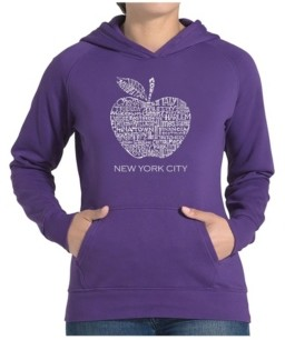 LA Pop Art Women's Word Art Hooded Sweatshirt -Neighborhoods In Nyc