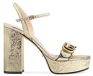 Gucci Women's Marmont Metallic Leather Slingback Platform Sandals