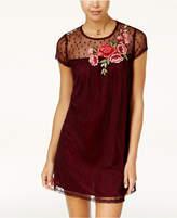 Speechless Juniors' Floral-Applique Illusion Shift Dress