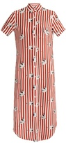 Stella Jean Spassosa bird-print striped silk dress