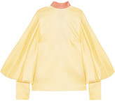 Roksanda Myra Open-back Hammered Silk-satin Blouse - Pastel yellow