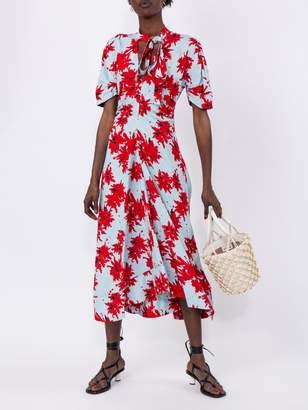 Proenza Schouler splatter floral short sleeve tie dress