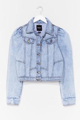 Nasty Gal Womens We Like It Puff Sleeve Denim Jacket - Light Blue