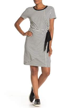 &.Layered Striped Tie Front T-Shirt Dress