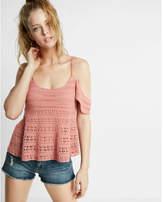 Express flutter sleeve crochet sweater