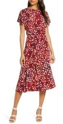 Maggy London Short Sleeve Floral Midi Dress