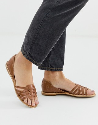 Park Lane Leather Summer Shoes-Tan
