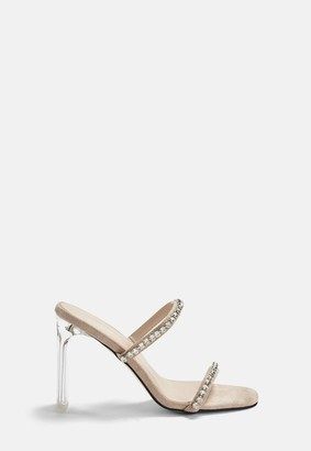 Missguided Nude Diamante Illusion Heel Sandals
