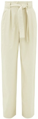 MSGM High-rise Belted Faux Leather Trousers - Womens - White