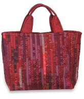 Red Hill Tribe Silk Patterned Tote Bag with Inner Pockets, 'Exotic Red'