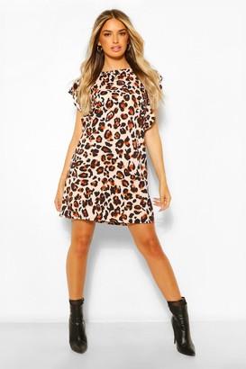 boohoo Leopard Double Ruffle Shift Dress