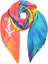 Moschino Multicolor Indian Elephant Print Silk Square Scarf