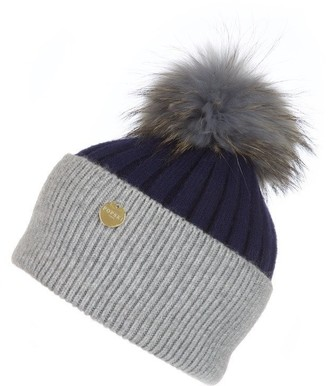 Popski London Angora Pom Pom Hat - French Navy-whisper Grey