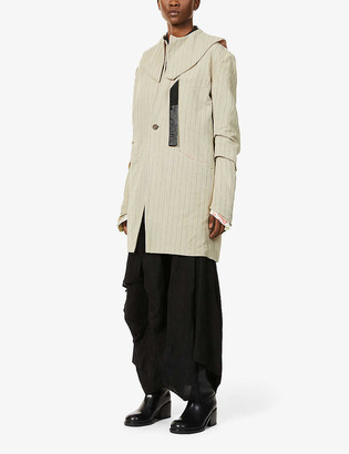 Chia Hung Su Striped patchwork cotton- and linen-blend jacket