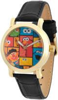 EWatchFactory Black & Gold Sesame Street Vintage Leather-Strap Watch - Girls