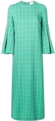 Sara Battaglia check print maxi dress