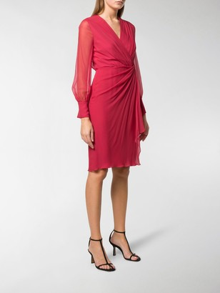 Max Mara Ruched Side Sheer Sleeve Dress