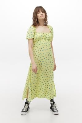 Faithfull The Brand Bette Midi Dress - Green S at Urban Outfitters