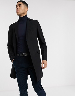 Gianni Feraud Premium Wool Blend Single Breatsed Classic Overcoat With Velvet Collar-Black