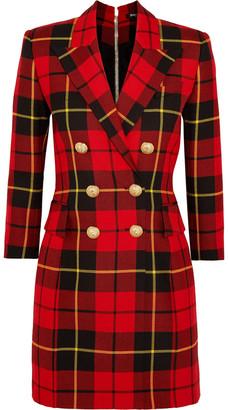 Balmain Checked Wool Mini Dress