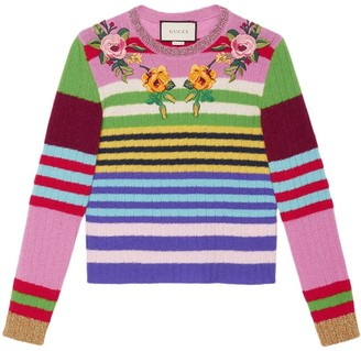 Gucci Embroidered Multicolour Knit Top