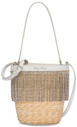 Miu Miu Crystal-Embellished Straw Bucket Bag