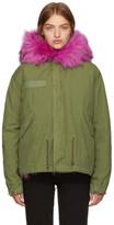 Mr & Mrs Italy Green & Pink Mini Fur-Lined Parka