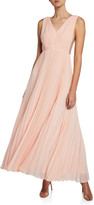 Fame & Partners V-Neck Multi-Strap Pleated Gown
