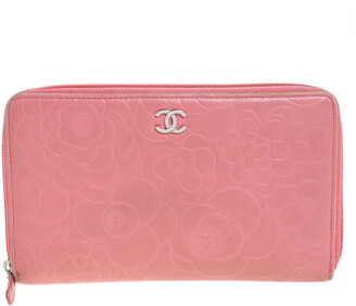 Chanel Pink Camellia Embossed Leather Zip Around Wallet Organizer