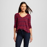 Merona Women's Striped Swingy T-Shirt Maroon/Navy Stripe