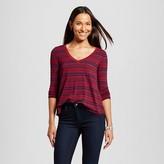Merona Women's Striped Swingy T-Shirt Maroon/Navy Stripe