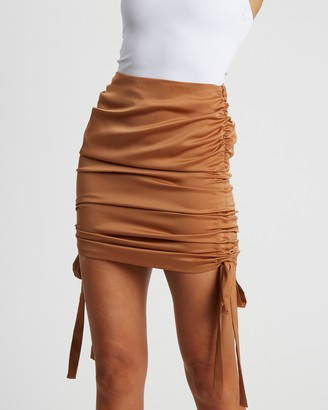 BWLDR - Women's Brown Mini skirts - Neptune Skirt - Size 6 at The Iconic