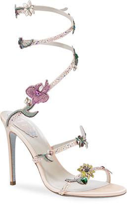 Rene Caovilla 105mm Snake-Ankle Floral Stud Sandals