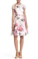 Ted Baker Women's 'Camari - Citrus Bloom' Print Mesh Stripe Fit & Flare Dress