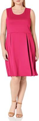 Star Vixen Women's Plus-Size Sleeveless Box-Pleat Skater Dress